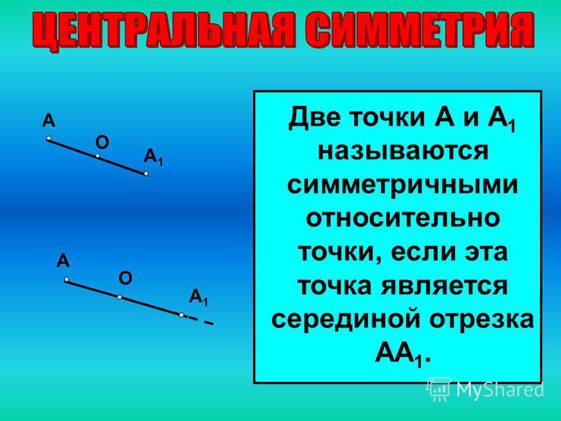 Две точки А и А 1 называются симметричными относительно точки, если эта точка является серединой отрезка АА 1. А А1А1 О А А1А1 О