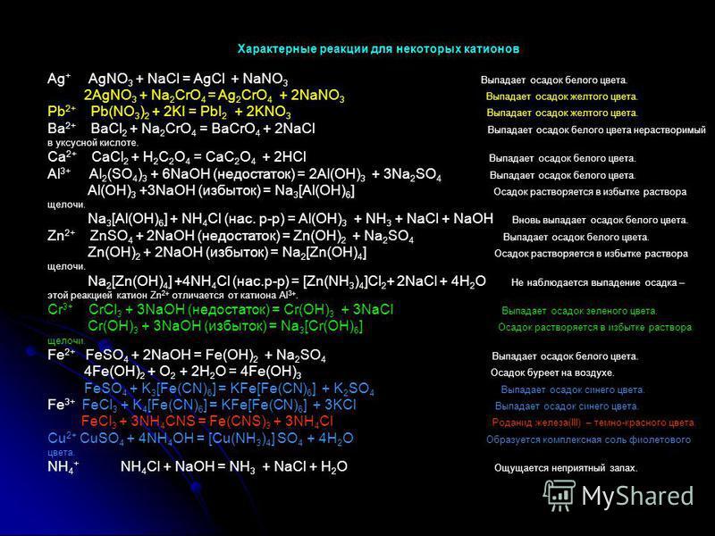Характерные реакции для некоторых катионов Ag + AgNO 3 + NaCl = AgCl + NaNO 3 Выпадает осадок белого цвета. 2AgNO 3 + Na 2 CrO 4 = Ag 2 CrO 4 + 2NaNO 3 Выпадает осадок желтого цвета. Pb 2+ Pb(NO 3 ) 2 + 2KI = PbI 2 + 2KNO 3 Выпадает осадок желтого цв
