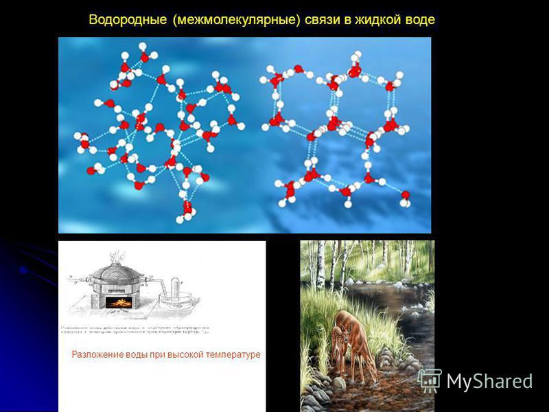 Водородные (межмолекулярные) связи в жидкой воде Разложение воды при высокой температуре
