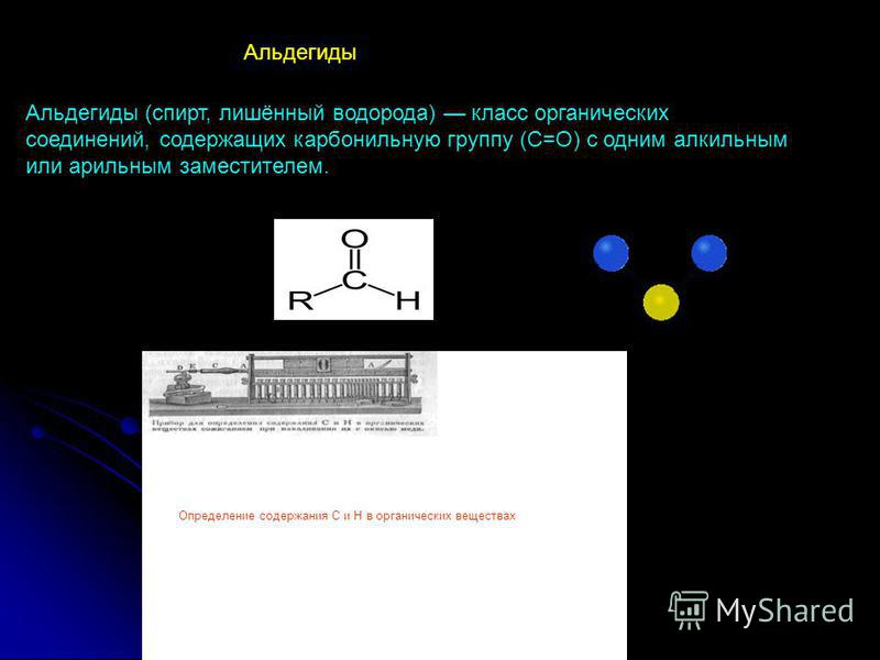 Альдегиды (спирт, лишённый водорода) класс органических соединений, содержащих карбонильную группу (С=О) с одним алкильным или арильным заместителем. Альдегиды Определение содержания С и Н в органических веществах