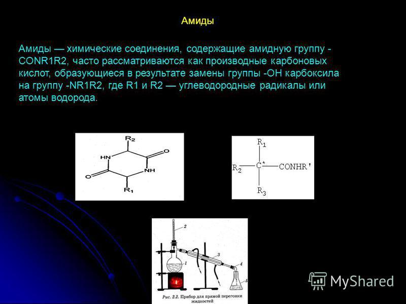 Амиды химические соединения, содержащие амидную группу - CONR1R2, часто рассматриваются как производные карбоновых кислот, образующиеся в результате замены группы -ОН карбоксила на группу -NR1R2, где R1 и R2 углеводородные радикалы или атомы водорода