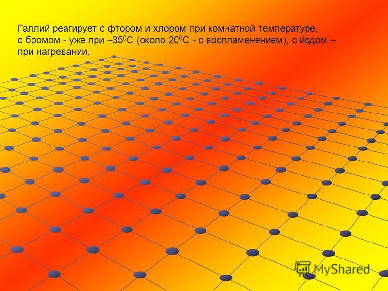 Галлий реагирует с фтором и хлором при комнатной температуре, с бромом - уже при –35 0 С (около 20 0 С - с воспламенением), с йодом – при нагревании.