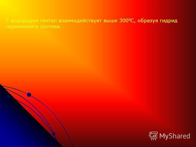 С водородом тантал взаимодействует выше 300 0 С, образуя гидрид переменного состава.