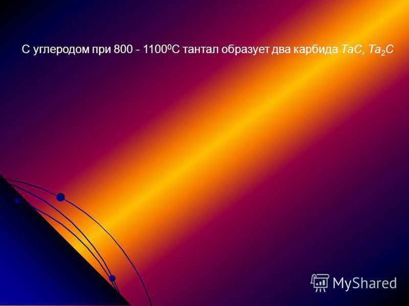 С углеродом при 800 - 1100 0 С тантал образует два карбида ТаС, Та 2 С