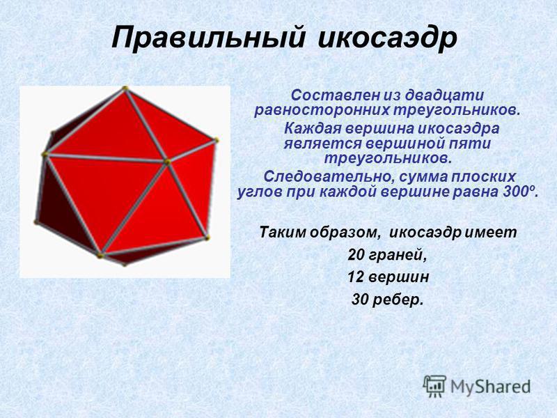 Составлен из двадцати равносторонних треугольников. Каждая вершина икосаэдра является вершиной пяти треугольников. Следовательно, сумма плоских углов при каждой вершине равна 300º. Таким образом, икосаэдр имеет 20 граней, 12 вершин 30 ребер. Правильн