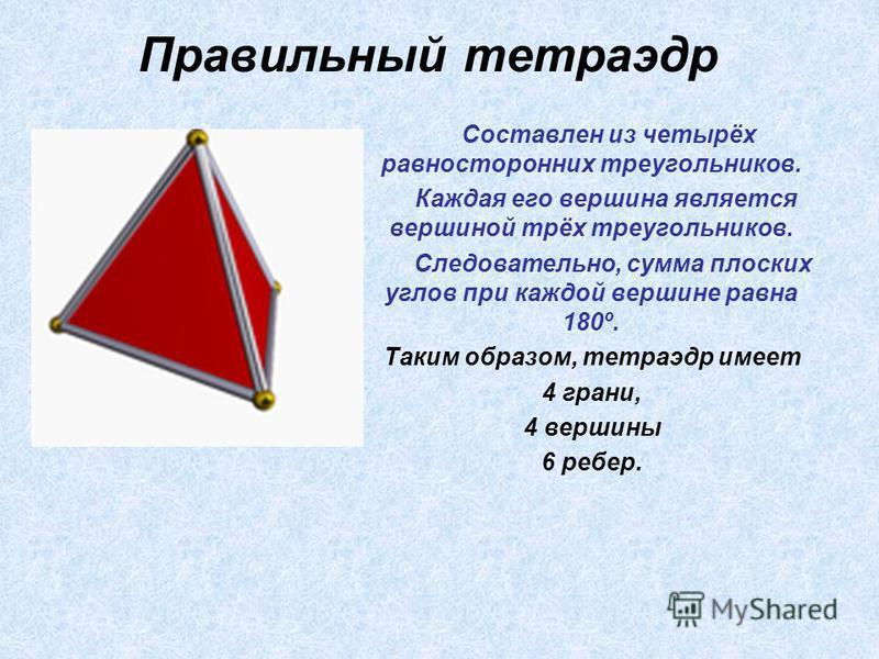 Правильный тетраэдр Составлен из четырёх равносторонних треугольников. Каждая его вершина является вершиной трёх треугольников. Следовательно, сумма плоских углов при каждой вершине равна 180º. Таким образом, тетраэдр имеет 4 грани, 4 вершины 6 ребер