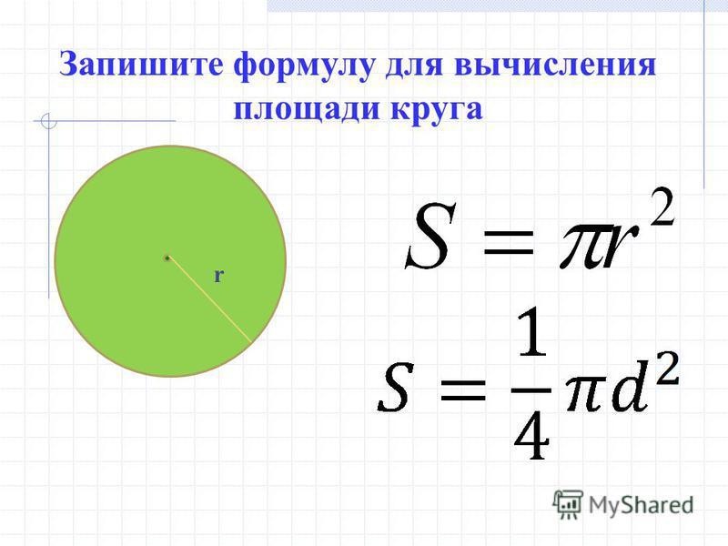 Запишите формулу для вычисления площади круга r