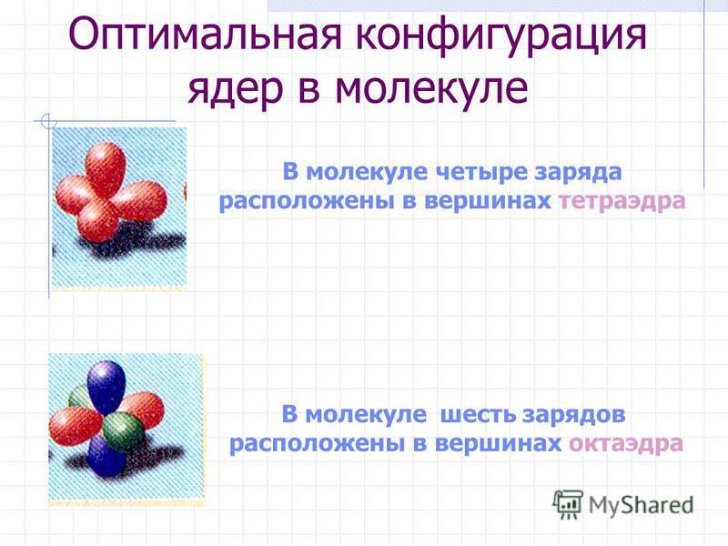 Оптимальная конфигурация ядер в молекуле В молекуле четыре заряда расположены в вершинах тетраэдра В молекуле шесть зарядов расположены в вершинах октаэдра