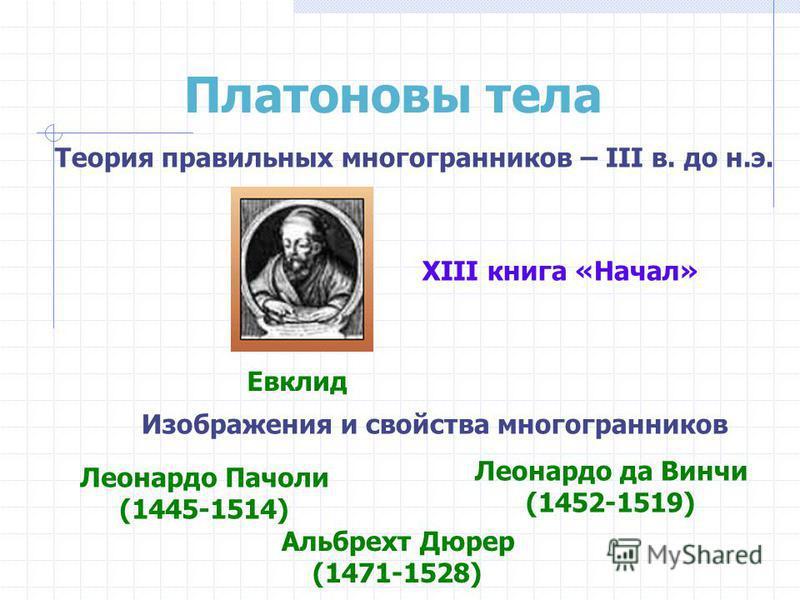 Платоновы тела Теория правильных многогранников – III в. до н.э. Евклид XIII книга «Начал» Изображения и свойства многогранников Леонардо Пачоли (1445-1514) Леонардо да Винчи (1452-1519) Альбрехт Дюрер (1471-1528)