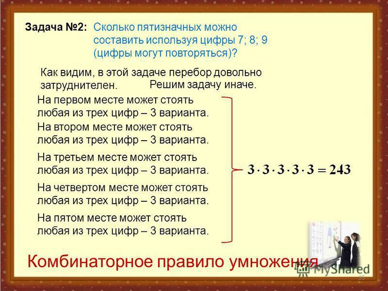 25 Задача 2: Сколько пятизначных можно составить используя цифры 7; 8; 9 (цифры могут повторяться)? Как видим, в этой задаче перебор довольно затруднителен. Решим задачу иначе. На первом месте может стоять любая из трех цифр – 3 варианта. На втором м