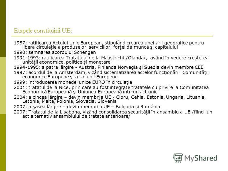 Etapele constituirii UE: 1987: ratificarea Actului Unic European, stipulând crearea unei arii geografice pentru libera circulaţie a produselor, serviciilor, forţei de muncă şi capitalului 1990: semnarea acordului Schengen 1991-1993: ratificarea Trata