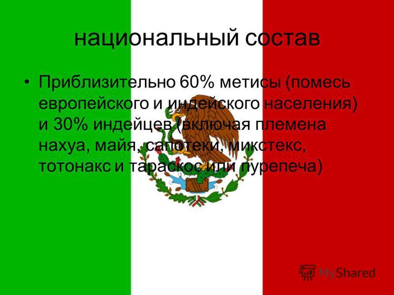 национальный состав Приблизительно 60% метисы (помесь европейского и индейского населения) и 30% индейцев (включая племена нахуа, майя, сапотеки, микс текс, тотонакс и тараскон или пурепеча)