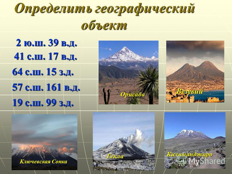 Определить географический объект Везувий Килиманджаро Гекла Ключевская Сопка Орисаба 2 ю.ш. 39 в.д. 41 с.ш. 17 в.д. 64 с.ш. 15 з.д. 57 с.ш. 161 в.д. 19 с.ш. 99 з.д.