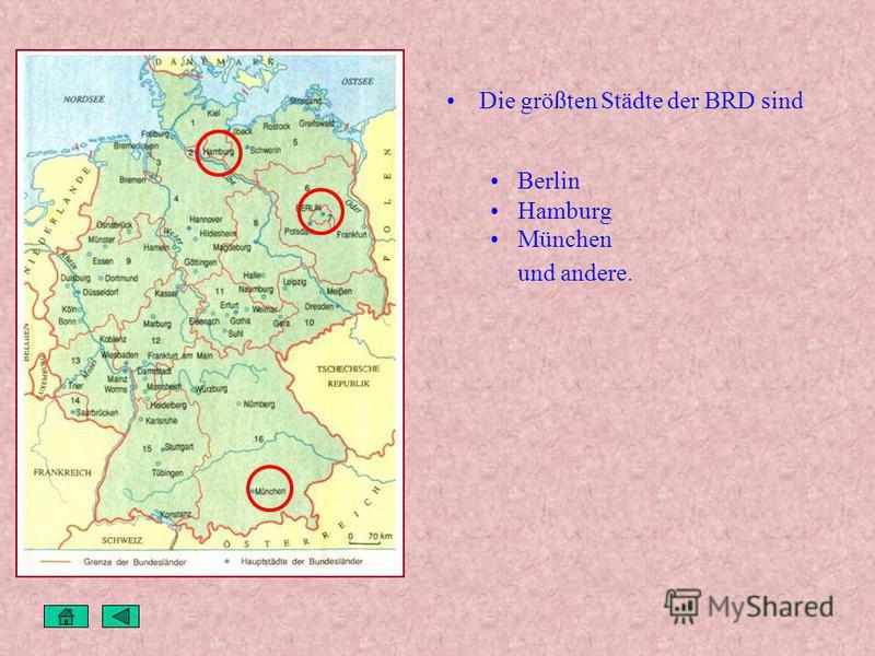 Landschaft Es gibt im Land viele Wälder, Felder, Wiesen, Täler, Flüsse und Seen. In Deutschland gibt es auch Berge der Harz der Schwarzwald der Thüringer Wald das Erzgebirge die Alpen Die wichtigsten Flüsse sind der Rhein die Elbe die Donau und ander