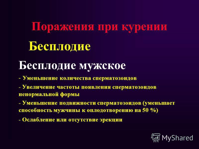 Бесплодие мужское - Уменьшение количества сперматозоидов - Увеличение частоты появления сперматозоидов ненормальной формы - Уменьшение подвижности сперматозоидов (уменьшает способность мужчины к оплодотворению на 50 %) - Ослабление или отсутствие эре