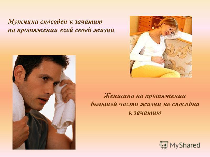 Мужчина способен к зачатию на протяжении всей своей жизни. Женщина на протяжении большей части жизни не способна к зачатию