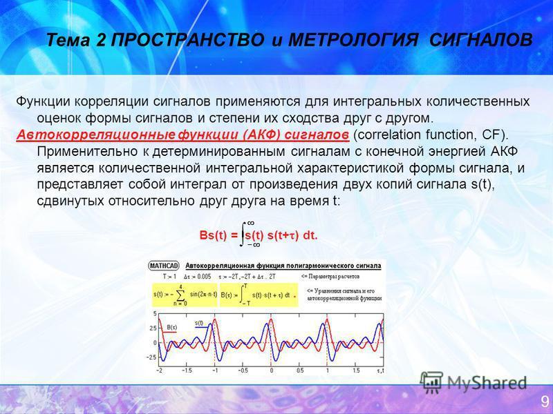 9 Тема 2 ПРОСТРАНСТВО и МЕТРОЛОГИЯ СИГНАЛОВ Функции корреляции сигналов применяются для интегральных количественных оценок формы сигналов и степени их сходства друг с другом. Автокорреляционные функции (АКФ) сигналов (correlation function, CF). Приме