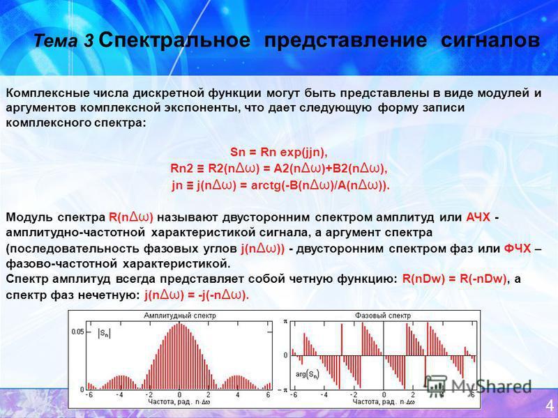 4 Тема 3 Спектральное представление сигналов Комплексные числа дискретной функции могут быть представлены в виде модулей и аргументов комплексной экспоненты, что дает следующую форму записи комплексного спектра: Sn = Rn exp(jjn), Rn2 R2(n Δω ) = A2(n