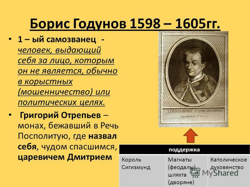 Борис Годунов 1598 – 1605 гг. 1 – ый самозванец - человек, выдающий себя за лицо, которым он не является, обычно в корыстных (мошенничество) или политических целях. Григорий Отрепьев – монах, бежавший в Речь Посполитую, где назвал себя, чудом спасшим