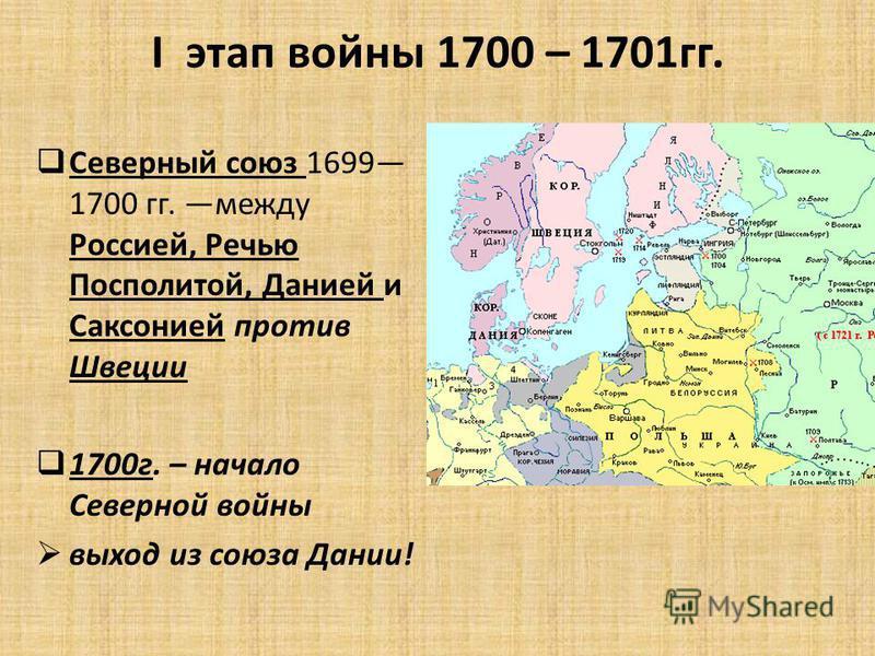 I этап войны 1700 – 1701 гг. Северный союз 1699 1700 гг. между Россией, Речью Посполитой, Данией и Саксонией против Швеции 1700 г. – начало Северной войны выход из союза Дании!