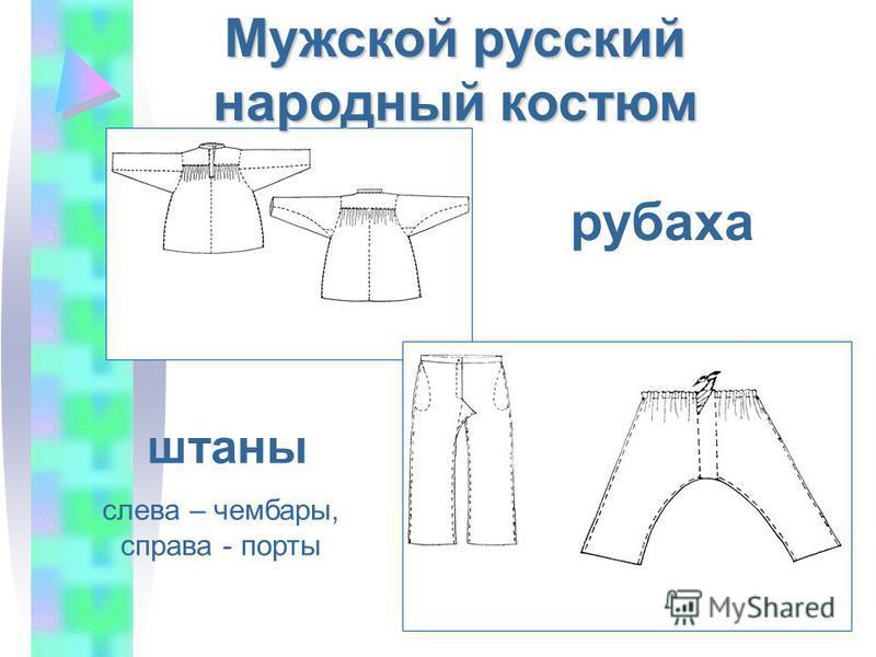 рубаха штаны слева – чембары, справа - порты Мужской русский народный костюм