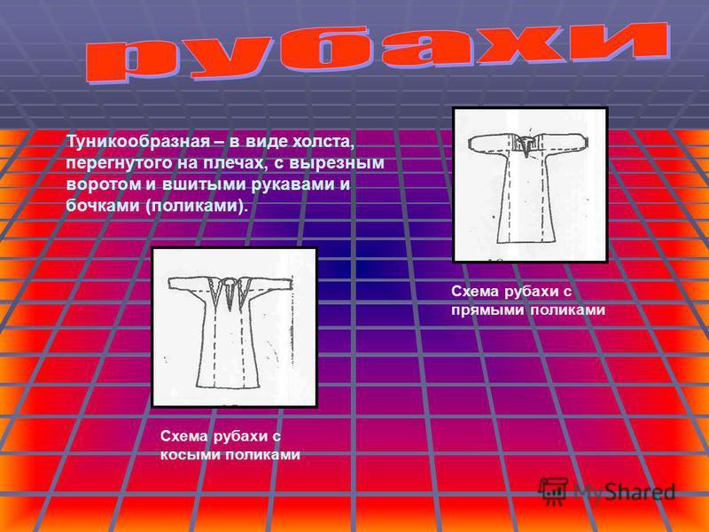 Туникообразная – в виде холста, перегнутого на плечах, с вырезным воротом и вшитыми рукавами и бочками (поликами). Схема рубахи с прямыми поликами Схема рубахи с косыми поликами