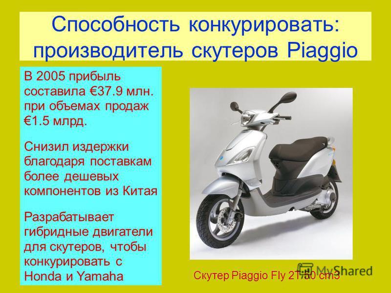Способность конкурировать: производитель скутеров Piaggio Скутер Piaggio Fly 2T 50 cm3 В 2005 прибыль составила 37.9 млн. при объемах продаж 1.5 млрд. Снизил издержки благодаря поставкам более дешевых компонентов из Китая Разрабатывает гибридные двиг