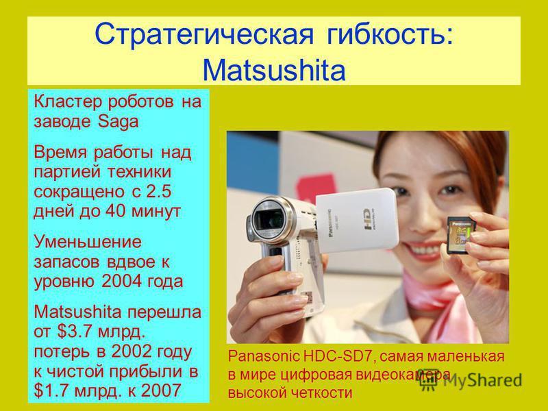 Стратегическая гибкость: Matsushita Кластер роботов на заводе Saga Время работы над партией техники сокращено с 2.5 дней до 40 минут Уменьшение запасов вдвое к уровню 2004 года Matsushita перешла от $3.7 млрд. потерь в 2002 году к чистой прибыли в $1