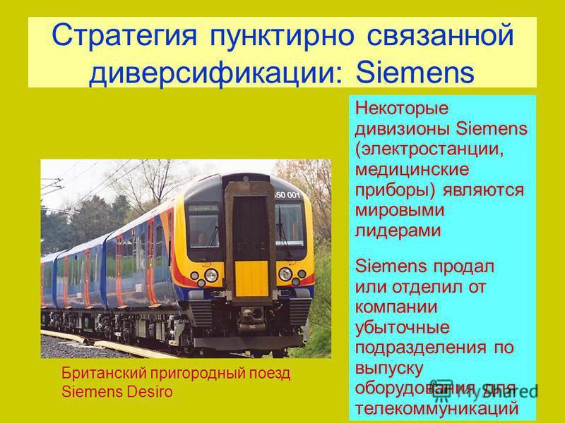Стратегия пунктирно связанной диверсификации: Siemens Некоторые дивизионы Siemens (электростанции, медицинские приборы) являются мировыми лидерами Siemens продал или отделил от компании убыточные подразделения по выпуску оборудования для телекоммуник