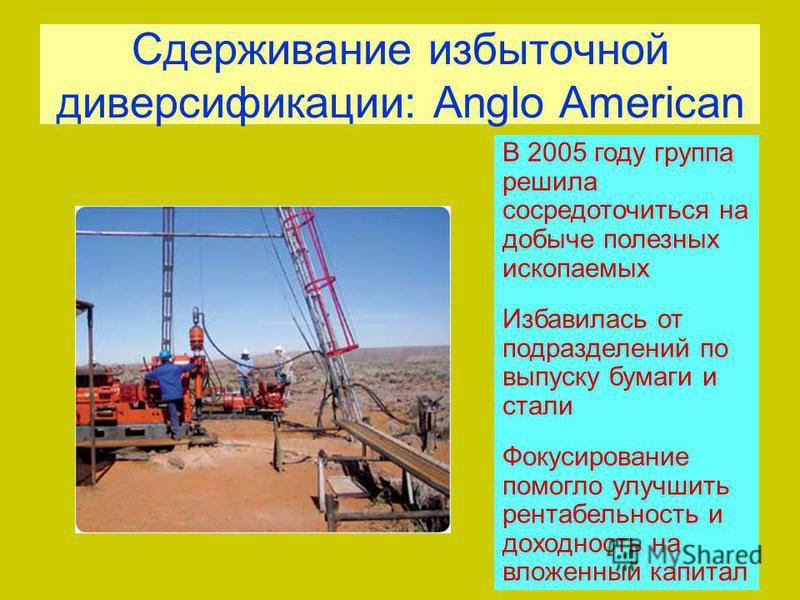 Сдерживание избыточной диверсификации: Anglo American В 2005 году группа решила сосредоточиться на добыче полезных ископаемых Избавилась от подразделений по выпуску бумаги и стали Фокусирование помогло улучшить рентабельность и доходность на вложенны