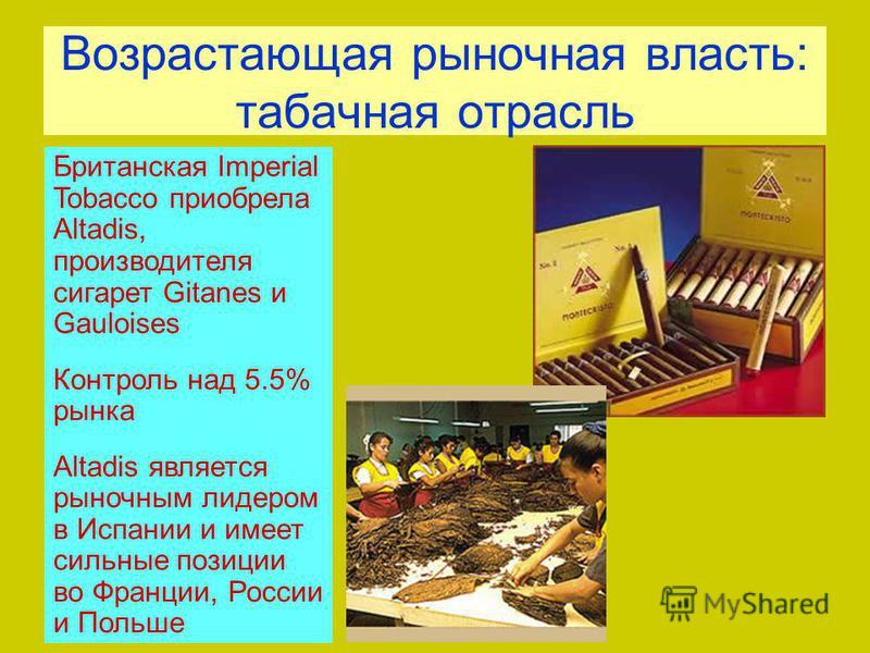 Возрастающая рыночная власть: табачная отрасль Британская Imperial Tobacco приобрела Altadis, производителя сигарет Gitanes и Gauloises Контроль над 5.5% рынка Altadis является рыночным лидером в Испании и имеет сильные позиции во Франции, России и П