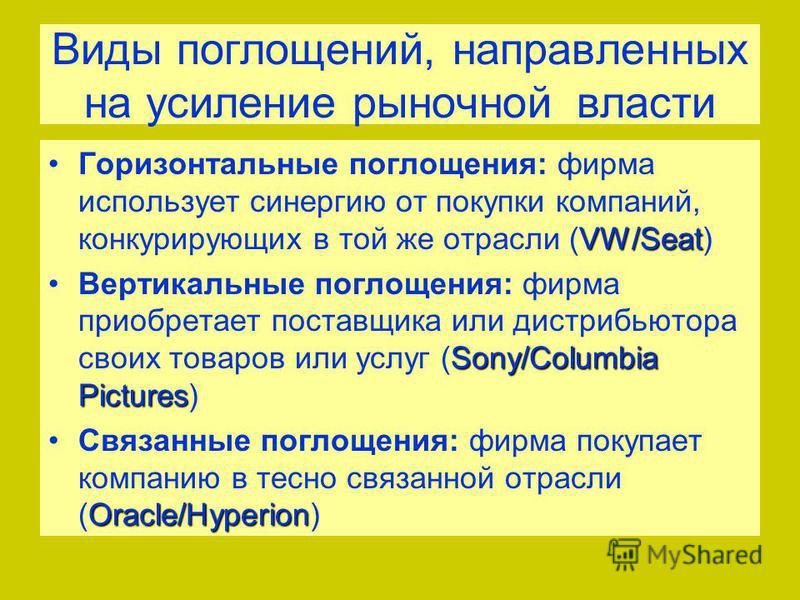Виды поглощений, направленных на усиление рыночной власти VW/Seat Горизонтальные поглощения: фирма использует синергию от покупки компаний, конкурирующих в той же отрасли (VW/Seat) Sony/Columbia Pictures Вертикальные поглощения: фирма приобретает пос