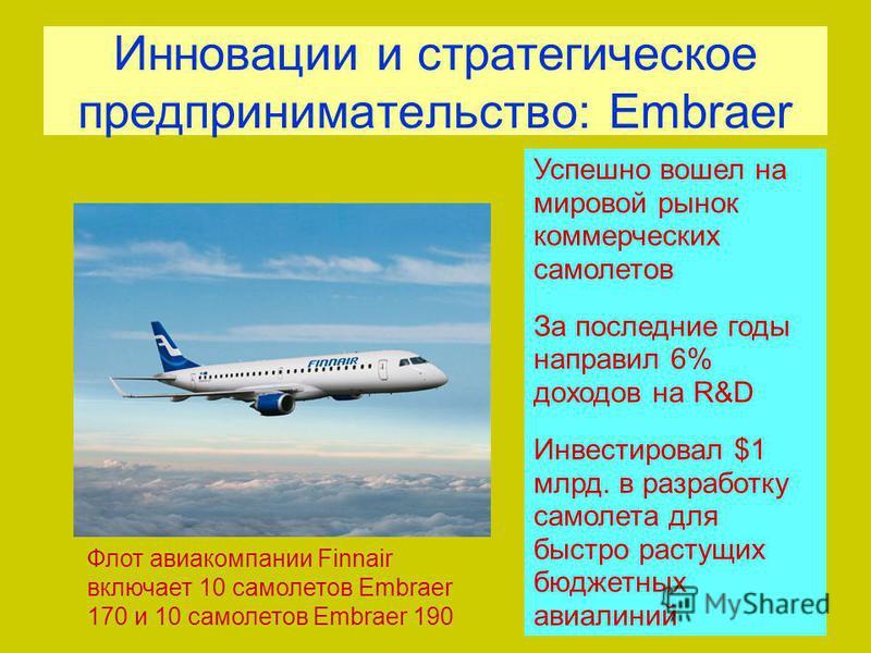 Инновации и стратегическое предпринимательство: Embraer Флот авиакомпании Finnair включает 10 самолетов Embraer 170 и 10 самолетов Embraer 190 Успешно вошел на мировой рынок коммерческих самолетов За последние годы направил 6% доходов на R&D Инвестир