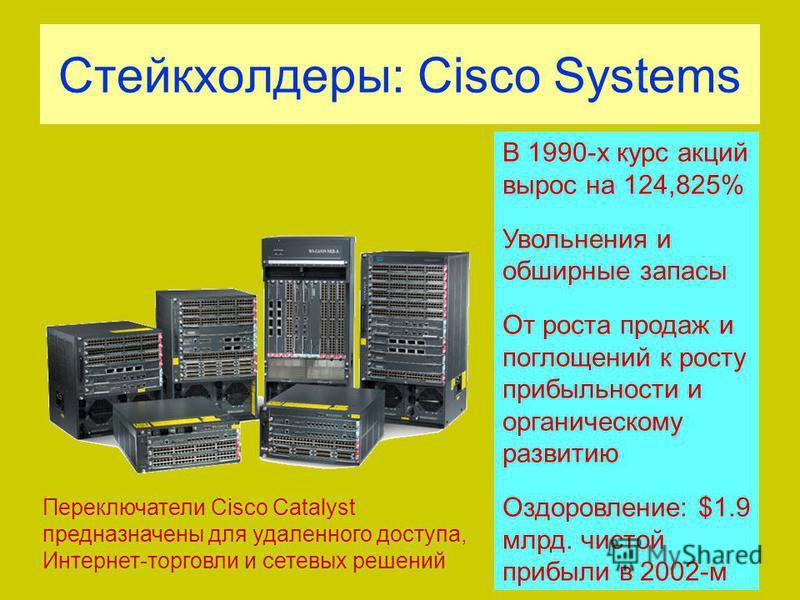 Стейкхолдеры: Cisco Systems Переключатели Cisco Catalyst предназначены для удаленного доступа, Интернет-торговли и сетевых решений В 1990-х курс акций вырос на 124,825% Увольнения и обширные запасы От роста продаж и поглощений к росту прибыльности и
