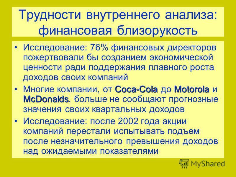 Трудности внутреннего анализа: финансовая близорукость Исследование: 76% финансовых директоров пожертвовали бы созданием экономической ценности ради поддержания плавного роста доходов своих компаний Coca-ColaMotorola McDonalds Многие компании, от Coc
