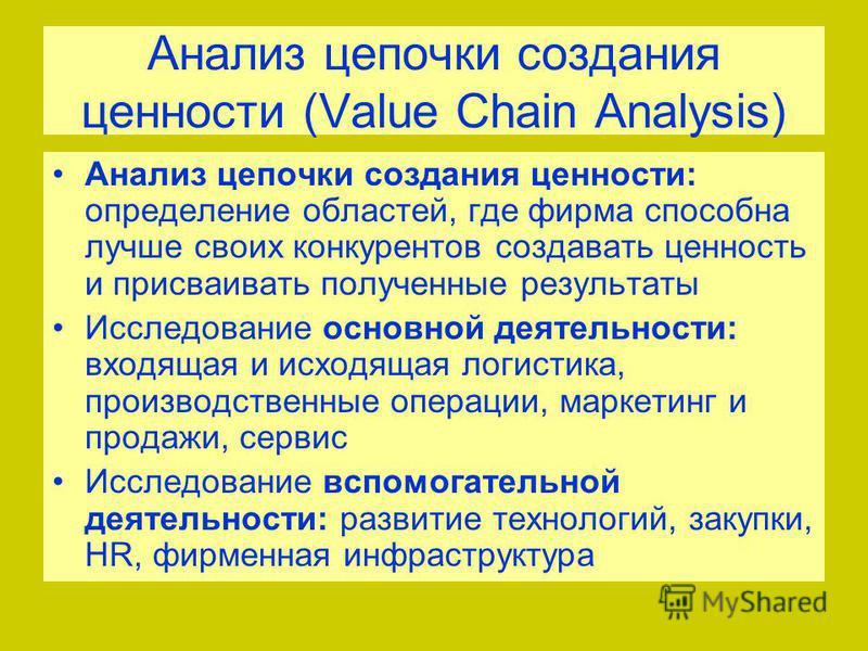 Анализ цепочки создания ценности (Value Chain Analysis) Анализ цепочки создания ценности: определение областей, где фирма способна лучше своих конкурентов создавать ценность и присваивать полученные результаты Исследование основной деятельности: вход