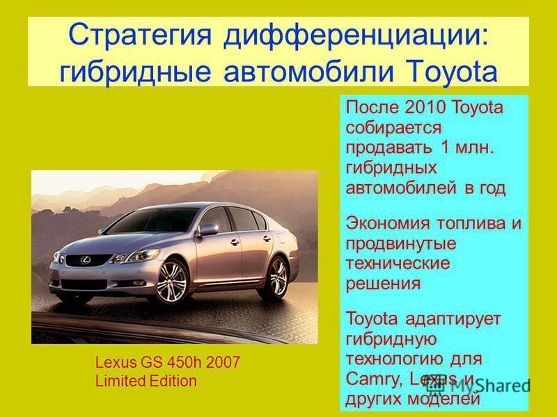 Стратегия дифференциации: гибридные автомобили Toyota Lexus GS 450h 2007 Limited Edition После 2010 Toyota собирается продавать 1 млн. гибридных автомобилей в год Экономия топлива и продвинутые технические решения Toyota адаптирует гибридную технолог
