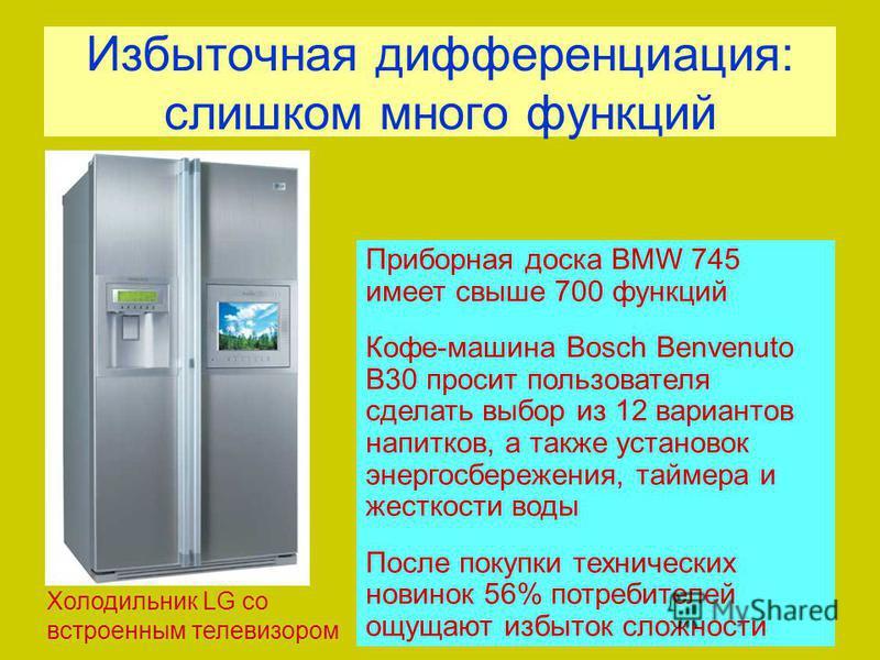 Избыточная дифференциация: слишком много функций Приборная доска BMW 745 имеет свыше 700 функций Кофе-машина Bosch Benvenuto B30 просит пользователя сделать выбор из 12 вариантов напитков, а также установок энергосбережения, таймера и жесткости воды