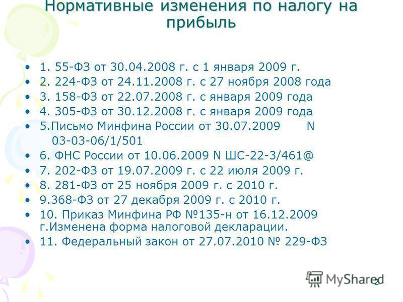 2 Нормативные изменения по налогу на прибыль 1. 55-ФЗ от 30.04.2008 г. с 1 января 2009 г. 2. 224-ФЗ от 24.11.2008 г. с 27 ноября 2008 года 3. 158-ФЗ от 22.07.2008 г. с января 2009 года 4. 305-ФЗ от 30.12.2008 г. с января 2009 года 5. Письмо Минфина Р