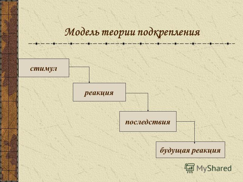 Модель теории подкрепления стимул реакция последствия будущая реакция
