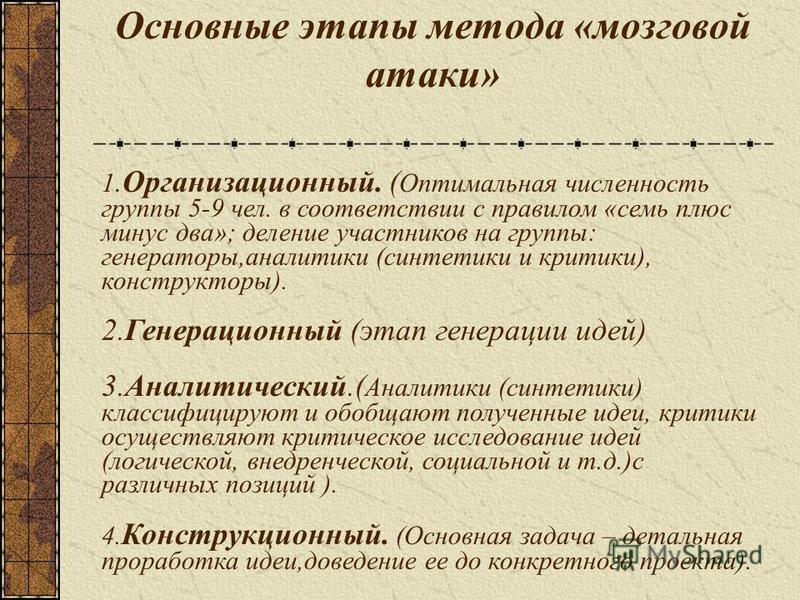 Основные этапы метода «мозговой атаки» 1.Организационный. ( Оптимальная численность группы 5-9 чел. в соответствии с правилом «семь плюс минус два»; деление участников на группы: генераторы,аналитики (синтетики и критики), конструкторы). 2. Генерацио