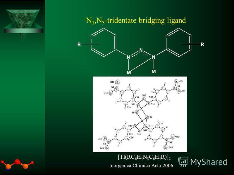 N 1,N 3 -tridentate bridging ligand [Tl(RC 6 H 4 N 3 C 6 H 4 R)] 2 Inorganica Chimica Acta 2006