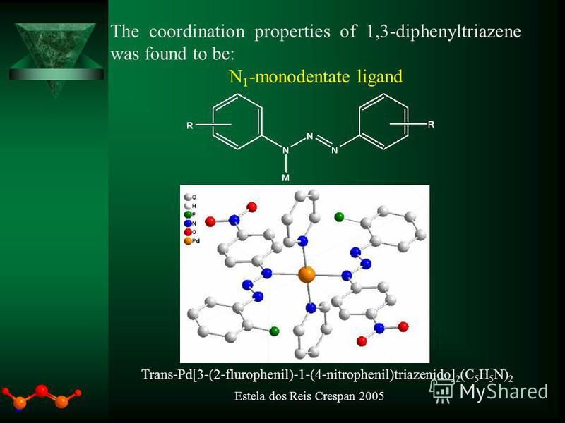 The coordination properties of 1,3-diphenyltriazene was found to be: N 1 -monodentate ligand Trans-Pd[3-(2-flurophenil)-1-(4-nitrophenil)triazenido] 2 (C 5 H 5 N) 2 Estela dos Reis Crespan 2005