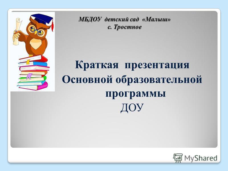 МБДОУ детский сад «Малыш» с. Тростное Краткая презентация Основной образовательной программы ДОУ