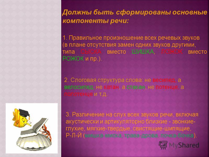 Должны быть сформированы основные компоненты речи: 3. Различение на слух всех звуков речи, включая акустически и артикуляторной близкие - звонкие- глухие, мягкие-твердые, свистящие-шипящие, Р-Л-Й (мишка-миска, трава-дрова, почка-бочка). 1. Правильное