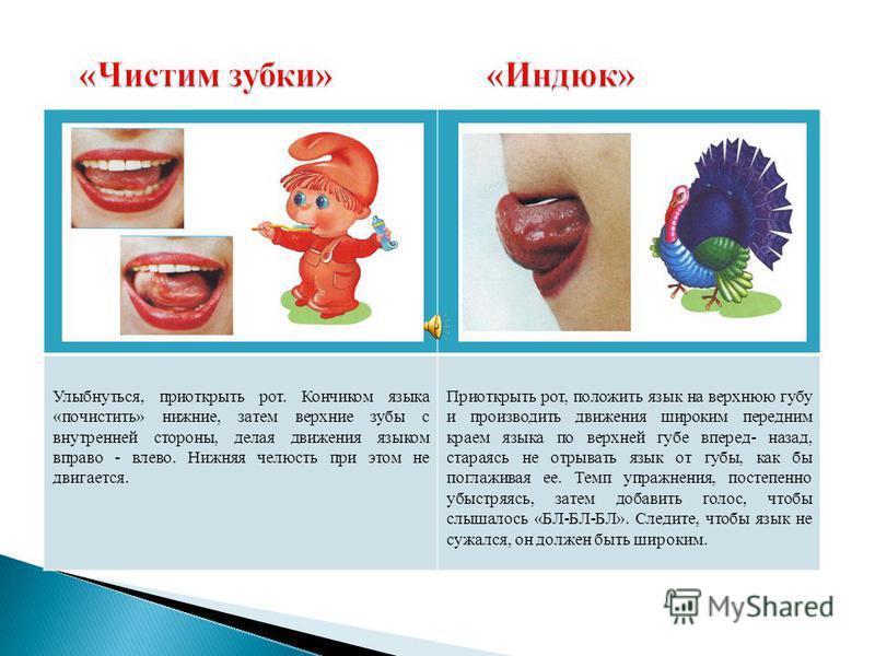Улыбнуться, приоткрыть рот. Кончиком языка «почистить» нижние, затем верхние зубы с внутренней стороны, делая движения языком вправо - влево. Нижняя челюсть при этом не двигается. Приоткрыть рот, положить язык на верхнюю губу и производить движения ш