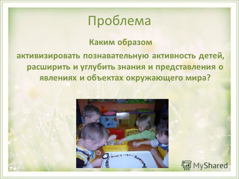 Проблема Каким образом активизировать познавательную активность детей, расширить и углубить знания и представления о явлениях и объектах окружающего мира?