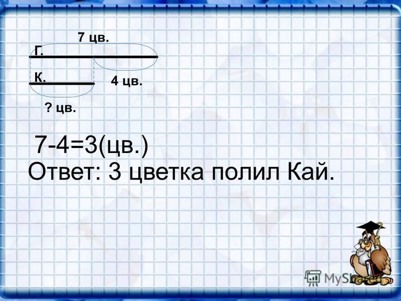 7 цв. 4 цв. ? цв. Г. К. 7-4=3(цв.) Ответ: 3 цветка полил Кай.