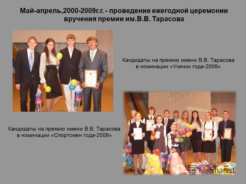 Кандидаты на премию имени В.В. Тарасова в номинации «Спортсмен года-2009» Май-апрель,2000-2009 г.г. - проведение ежегодной церемонии вручения премии им.В.В. Тарасова Кандидаты на премию имени В.В. Тарасова в номинации «Ученик года-2009»