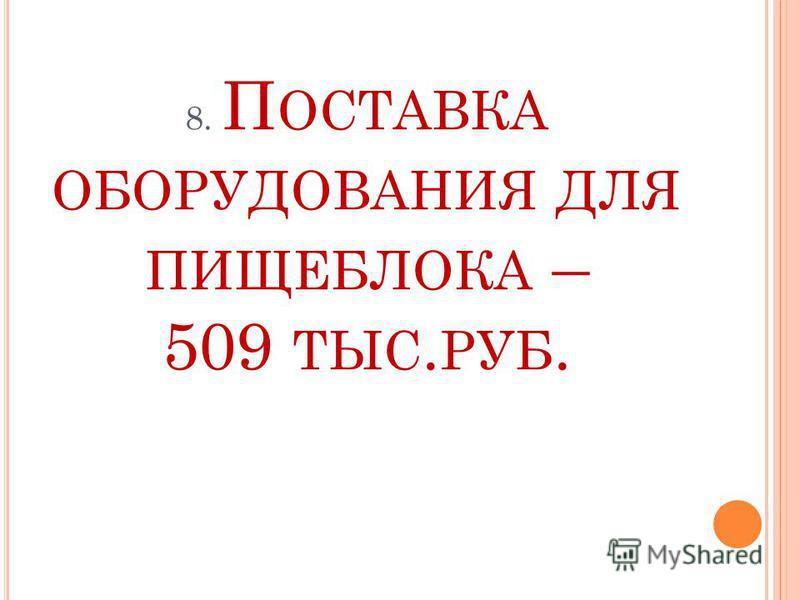 8. П ОСТАВКА ОБОРУДОВАНИЯ ДЛЯ ПИЩЕБЛОКА – 509 ТЫС. РУБ.